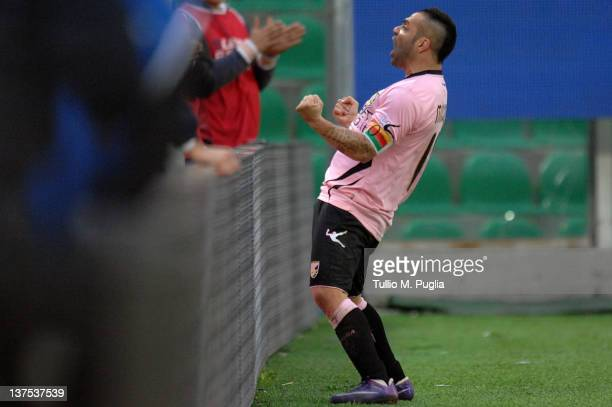 Fabrizio Miccoli of Palermo celebrates after scoring his team's fourth goal during the Serie A match between US Citta di Palermo and Genoa CFC at...