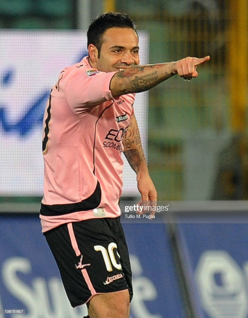 Fabrizio Miccoli of Palermo celebrates after scoring the opening goal of the Serie A match between US Citta di Palermo and Juventus FC at Stadio Renzo Barbera on February 2, 2011 in Palermo, Italy.