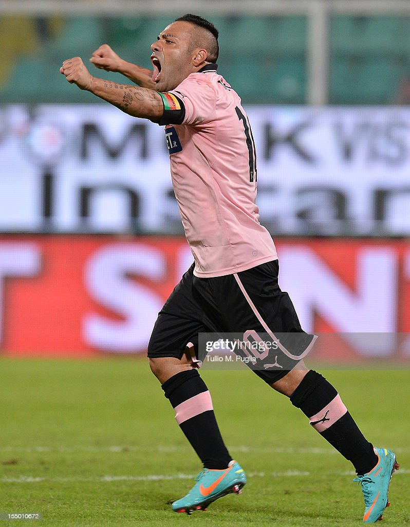 Fabrizio Miccoli of Palermo celebrates after scoring the opening goal during the Serie A match between US Citta di Palermo and AC Milan at Stadio Renzo Barbera on October 30, 2012 in Palermo, Italy.