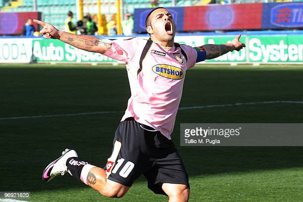 Fabrizio Miccoli of Palermo celebrates after scoring the second goal from a penalty during the Serie A match between US Citta di Palermo and SS Lazio...