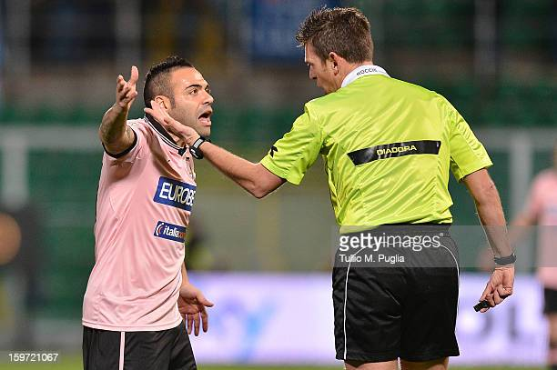 Fabrizio Miccoli of Palermo protests with referee Gianluca Rocchi during the Serie A match between US Citta di Palermo and SS Lazio at Stadio Renzo...