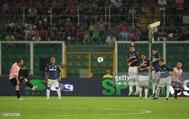 Fabrizio Miccoli of Palermo scores his team's third goal during the Serie A match between US Citta di Palermo and FC Internazionale Milano at Stadio...