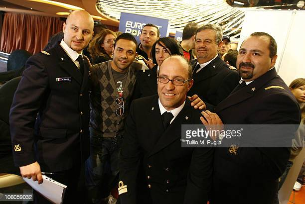 Fabrizio Miccoli poses with boat crew on the ship for the opening tournaments of the Mediterranean Cruise Eurobetpoker on October 26 2010 in Palermo...