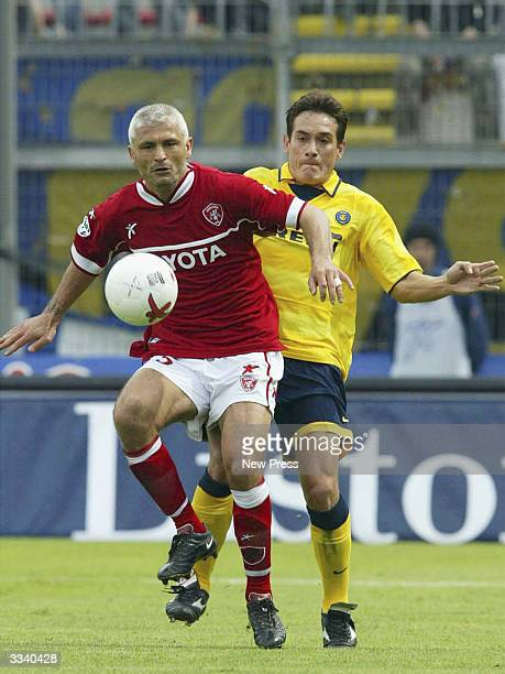 Fabrizio Ravanelli of Perugia shields the ball from Carlos Gamarra of Inter during the Serie A match between Perugia and Internazionale Milan held at...