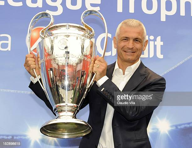 Fabrizio Ravanelli poses with the trophy during the UEFA Champions League Trophy Tour 2012/13 on September 28 2012 in Bologna Italy