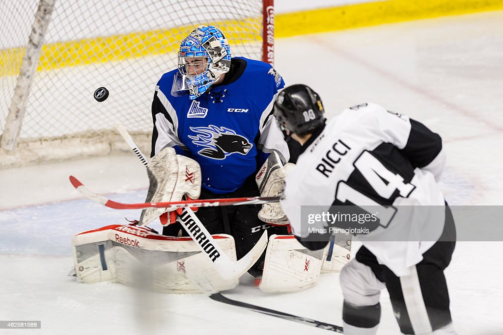 Fabrizio Ricci #14 of the Blainville-Boisbriand Armada is stopped by Alexander Bishop #31 of the Saint John Sea Dogs during the QMJHL game at the Centre Excellence Rousseau on January 31, 2015 in Blainville-Boisbriand, Quebec, Canada.