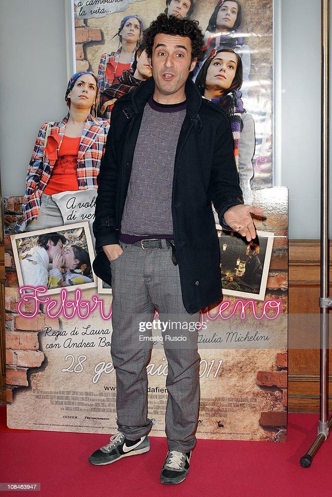 Fabrizio Sabatucci attends the 'Febbre Da Fieno' premiere at Emassy Cinema on January 27, 2011 in Rome, Italy.