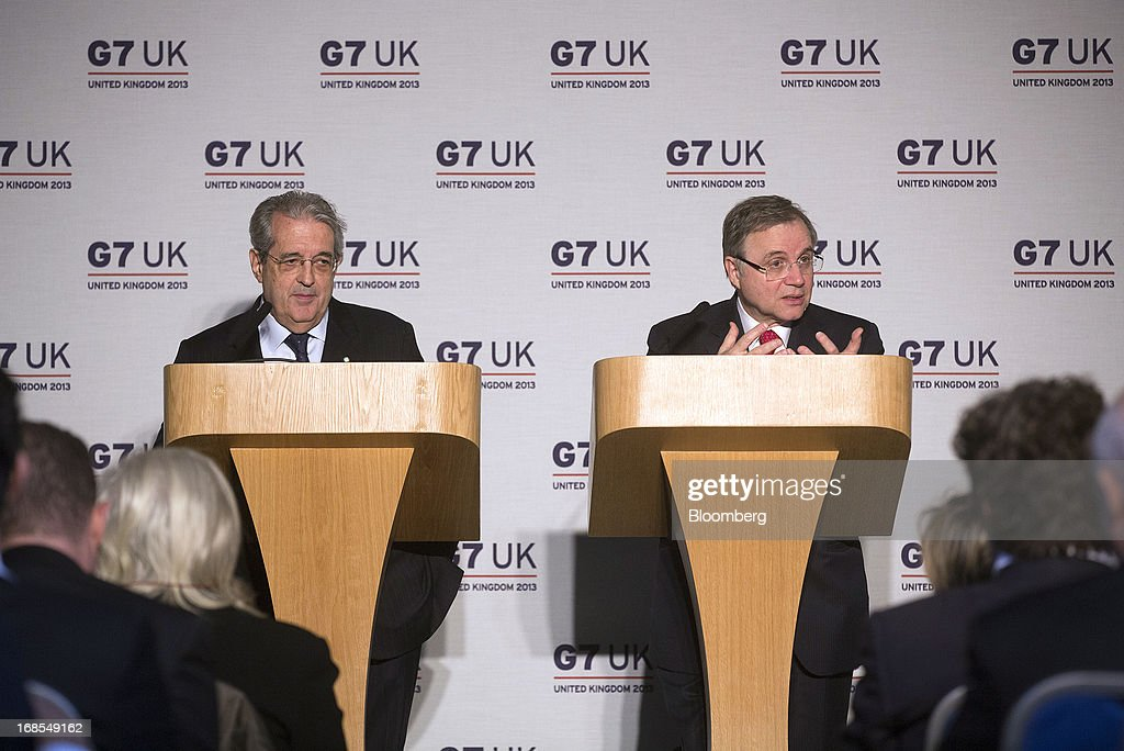 Fabrizio Saccomanni, Italy's finance minister, left, listens while Salvatore Rossi, director general of the Bank of Italy, speaks during a news conference at the Group of Seven (G-7) finance ministers and central bank governors meeting at Hartwell House in Aylesbury, U.K., on Saturday, May 11, 2013. Global finance chiefs clashed over the correct speed of budget cutting as they sought fresh ways to rally the slowing world economy. Photographer: Simon Dawson/Bloomberg via Getty Images
