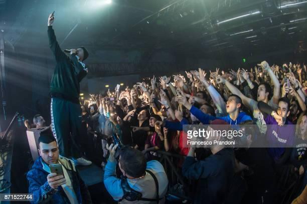 Fabrizio Tarducci AKA Fabri Fibra performs at Alcatraz on stage on November 7 2017 in Milan Italy