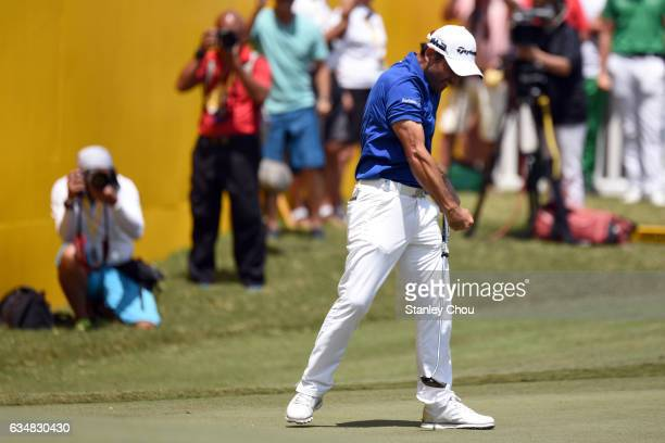 Fabrizio Zanotti of Paraguay celebrates after sinking an eagle on the 18th hole during Day Four of the Maybank Championship Malaysia at Saujana Golf...