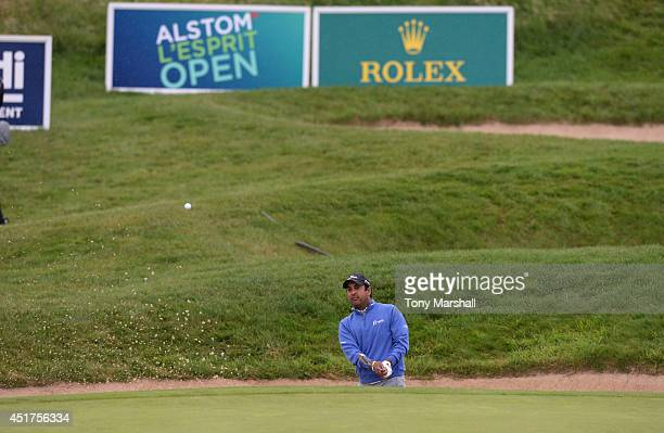 Fabrizio Zanotti of Paraguay chips out of a bunker on to the 9th green during the Alstom Open de France Day Four at Le Golf National on July 6 2014...