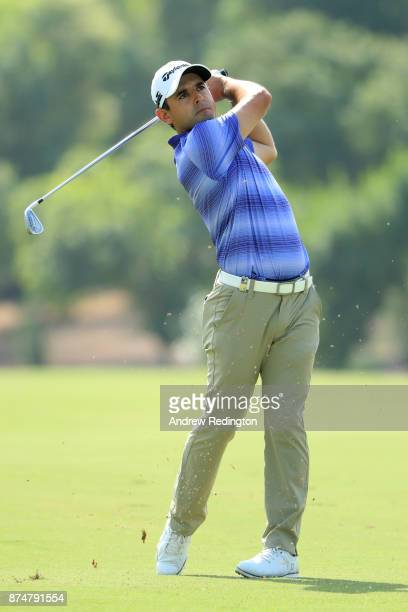 Fabrizio Zanotti of Paraguay hits his second shot on the 3rd hole during the first round of the DP World Tour Championship at Jumeirah Golf Estates...
