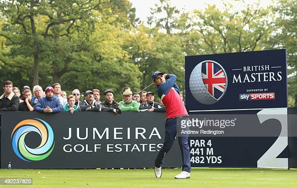 Fabrizio Zanotti of Paraguay hits his teeshot on the second hole during the final round of the British Masters supported by Sky Sports at Woburn Golf...