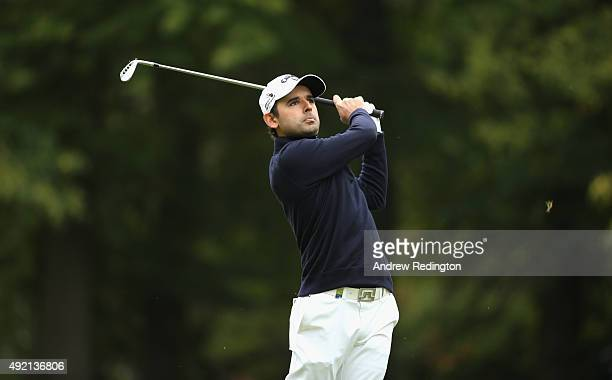 Fabrizio Zanotti of Paraguay hits his teeshot on the sixth hole during the third round of the British Masters supported by Sky Sports at Woburn Golf...