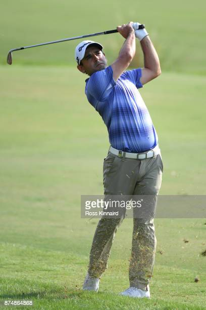 Fabrizio Zanotti of Paraguay hits his third shot on the 18th hole during the first round of the DP World Tour Championship at Jumeirah Golf Estates...