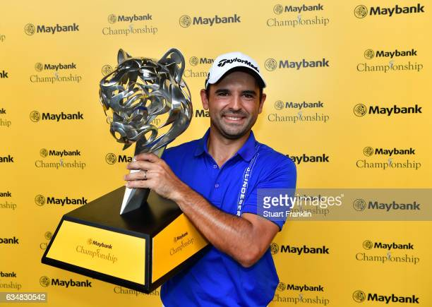 Fabrizio Zanotti of Paraguay holds the winners trophy after the final day of the Maybank Championship Malaysia at SaujanaGolf Club on February 12...