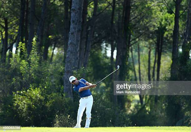 Fabrizio Zanotti of Paraguay in action during the third round of the Turkish Airlines Open at The Montgomerie Maxx Royal Golf Club on October 31 2015...