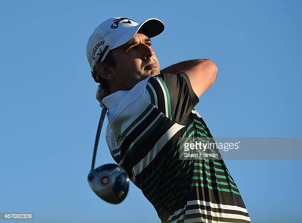 Fabrizio Zanotti of Paraguay plays a shot during the second round of the Portugal Masters at Oceanico Victoria Golf Club on October 9 2014 in...