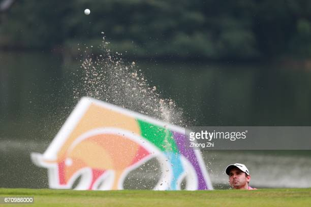 Fabrizio Zanotti of Paraguay plays a shot during the second round of the Shenzhen International at Genzon Golf Club on April 21 2017 in Shenzhen China
