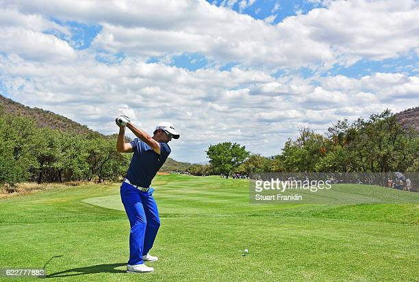 Fabrizio Zanotti of Paraguay plays a shot during the third round of The Nedbank Golf Challenge at Gary Player CC on November 12 2016 in Sun City...