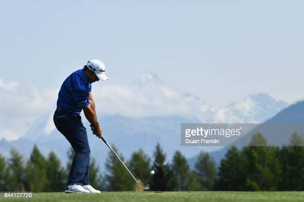 Fabrizio Zanotti of Paraguay plays his second shot on the 12th during Day Two of the 2017 Omega European Masters at CranssurSierre Golf Club on...