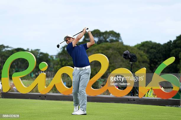 Fabrizio Zanotti of Paraguay plays his shot from the 16th tee during the first round of men's golf on Day 6 of the Rio 2016 Olympics at the Olympic...