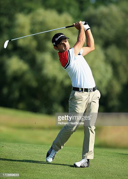 Fabrizio Zanotti of Paraguay plays into the 14th green during the second round of the Alstom Open de France at Le Golf National on July 5 2013 in...