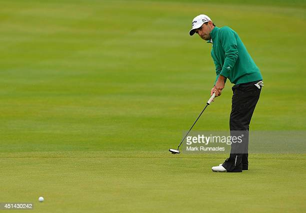 Fabrizio Zanotti of Paraguay putting on the 9th green during the fourth round of the BMW International Open at Golf Club Gut Larchenhof on June 29...