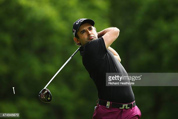 Fabrizio Zanotti of Paraguay tees off on the 3rd hole during day 2 of the BMW PGA Championship at Wentworth on May 22 2015 in Virginia Water England