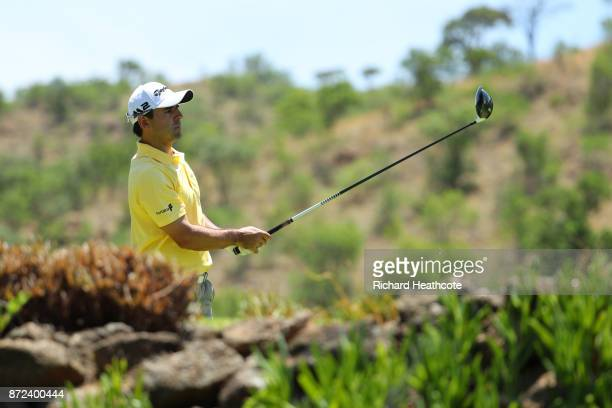 Fabrizio Zanotti of Paraguay tees off on the 5th hole during the second round of the Nedbank Golf Challenge at Gary Player CC on November 10 2017 in...