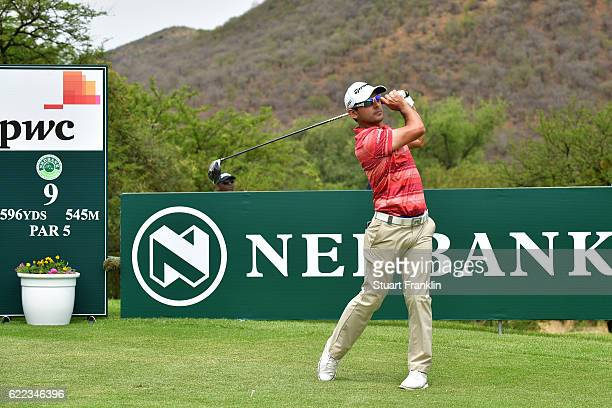 Fabrizio Zanotti of Paraguay tees off on the 9th hole during day two of the Nedbank Golf Challenge at Gary Player CC on November 11 2016 in Sun City...