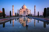 Taj Mahal refelct in sunrise colors.