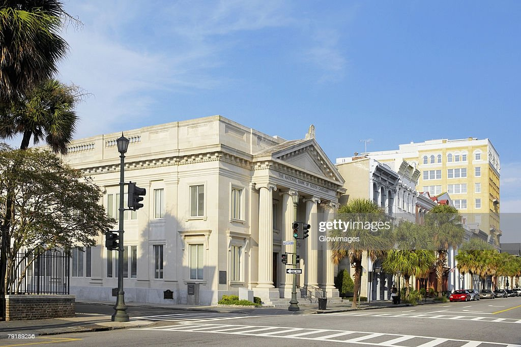 Facade of a bank, National Bank of South Carolina, Charleston, South Carolina, USA : Stock Photo
