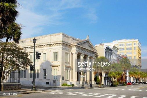 Facade of a bank, National Bank of South Carolina, Charleston, South Carolina, USA : Foto de stock