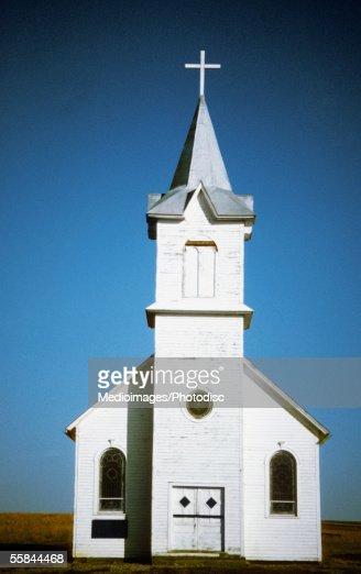 Facade of a church on a prairie, 1880 Town, South Dakota, USA
