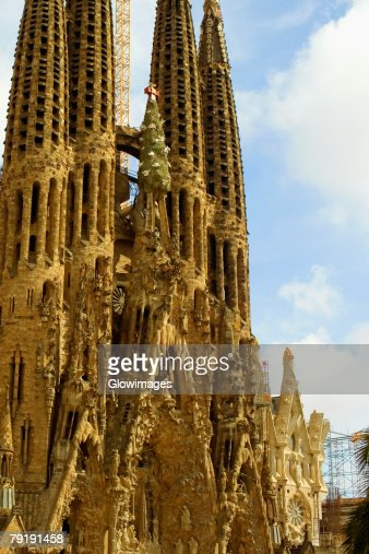 Facade of a church, Sagrada Familia, Barcelona, Spain : Foto de stock