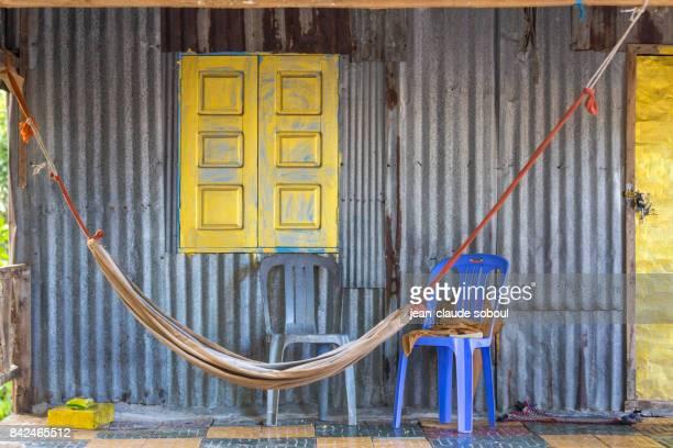 facade of a fisherman's house, in Sihanoukville city (cambodia)