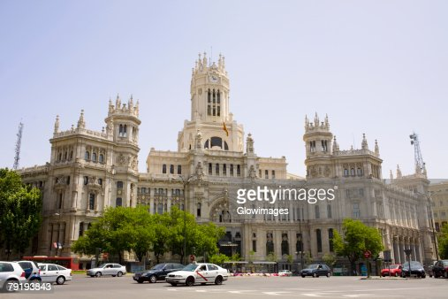 Facade of a government building, Palacio De Comunicaciones, Plaza de Cibeles, Madrid, Spain