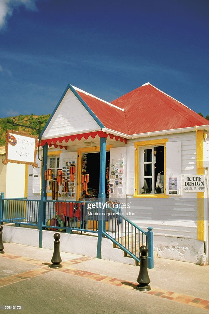 Facade of a shop with red roof, St. Gustavia, St. Barts
