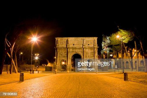 Facade of a triumphal arch, Arch Of Constantine, Rome, Italy : Stock Photo
