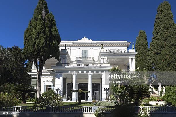 Facade of Achilleion Palace Museo Achilleio in Corfu Greece