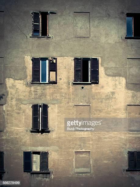 Facade of an old building in Milano, Italy