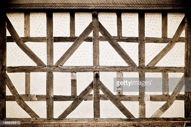 Facade of an old half-timbered house - toned image