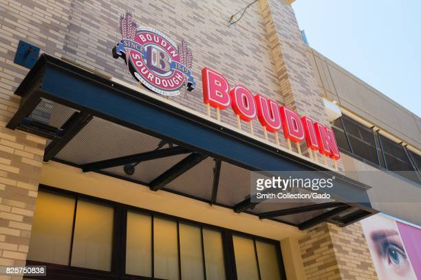 Facade of Boudin a popular local sourdough bread chain in the upscale Broadway Plaza shopping center in downtown Walnut Creek California July 30 2017