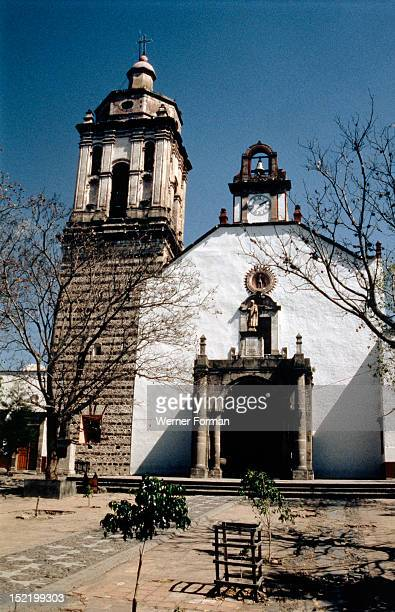 Facade of church at Zinapecuaro dating from circa 1630 Once part of a Franciscan convent built on the site of a temple of the Tarascan people the...