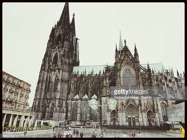 Facade Of Cologne Cathedral Against Clear Sky