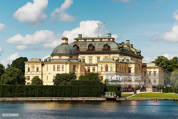 Facade of Drottningholm Palace in Stockholm, Sweden