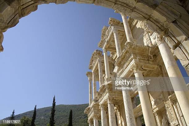 Facade of library at Ephesus, Turkey.