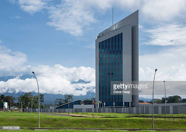 Facade of modern building exterior of Central African Bank building in the capital city of Malabo, Equatorial Guinea, Africa