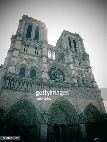 Facade of Notre Dame in Paris : Stock Photo
